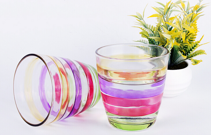 225ML colorful machine pressed scratch resistant glass tumbler
