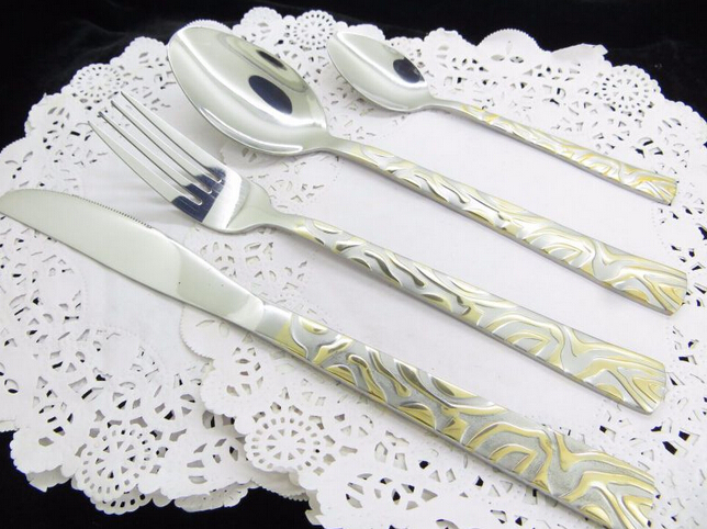 High Quality Cutlery Set With Gold Plated Figure Handle
