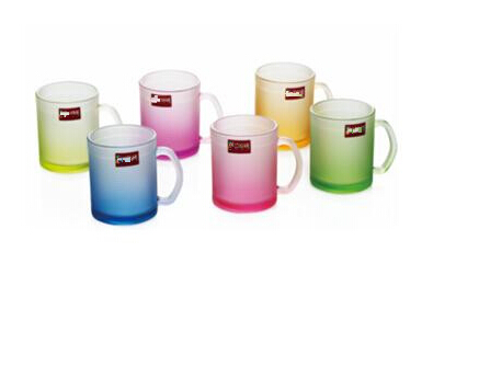 Colorful Frosted Printed Glass Cup Wholesale