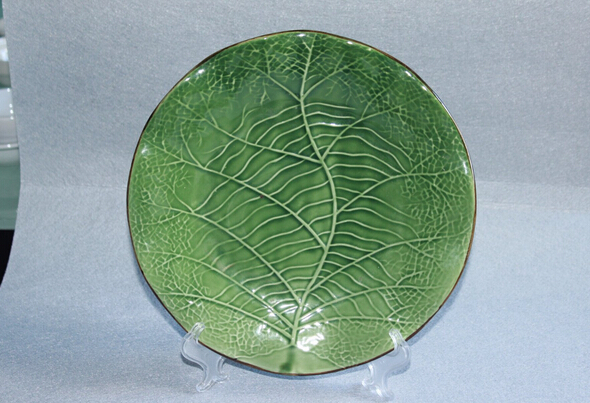 Green Leaf  Design Top-Grade Ceramic Dinner Plate