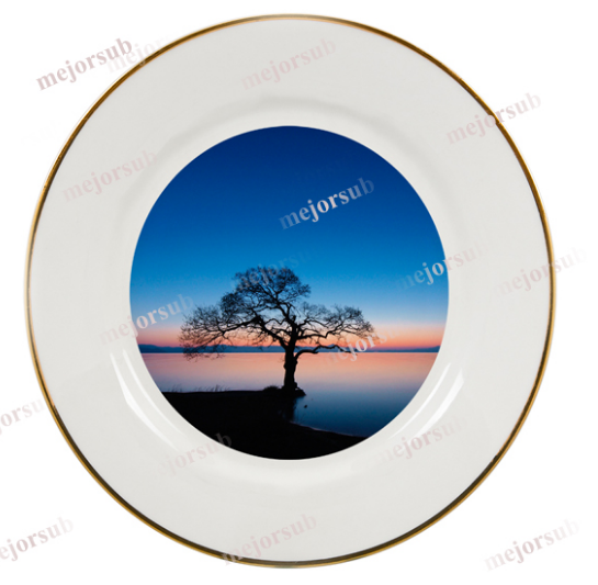 Hot Sail Ceramic Plate with Golden Rims