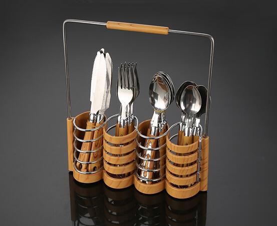 Eco-friendly mirror polish wood handle 4pce cutlery
