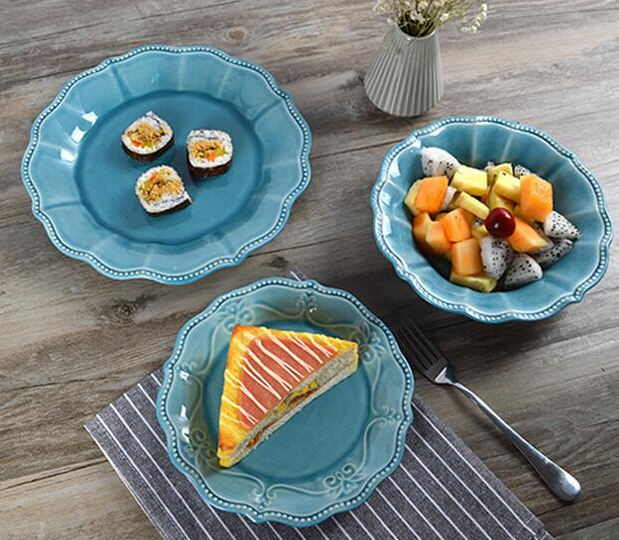 Top-Rated Blue Colour Glazed Dinner Plates
