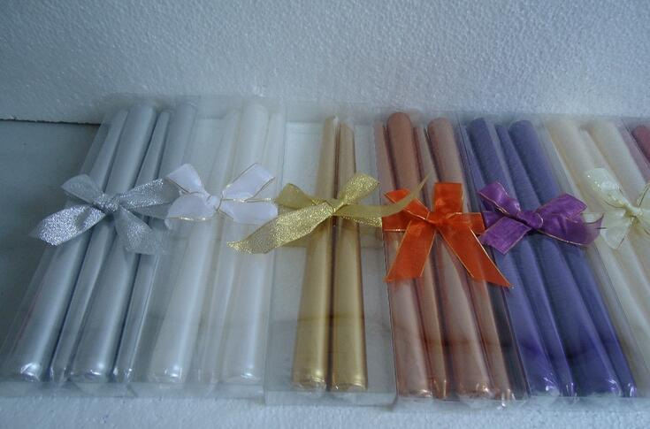 Various Size Metallic Painted Taper Candle