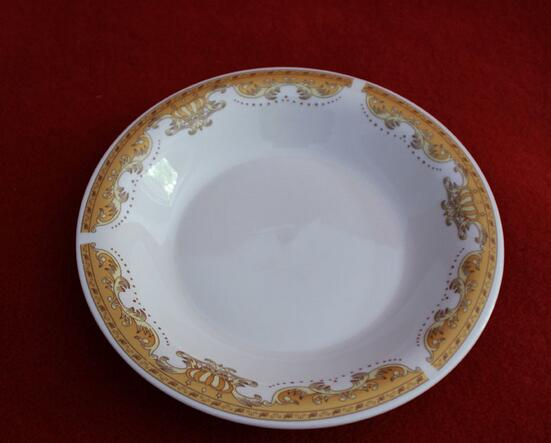 White Ceramic Plate With Gold Round Edge