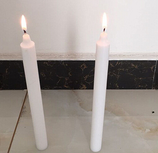 Non-scented smokeless white taper candle