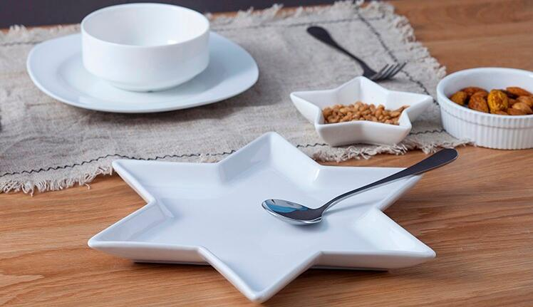 11 inch star-shaped white ceramic plate