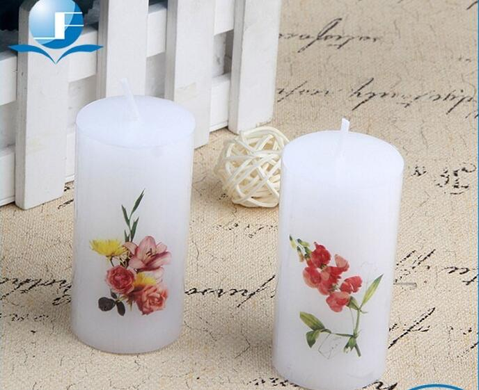 White art scented flameless pillar candle
