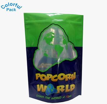 Customized printed mylar standup aluminum foil ziplock popcorn bag