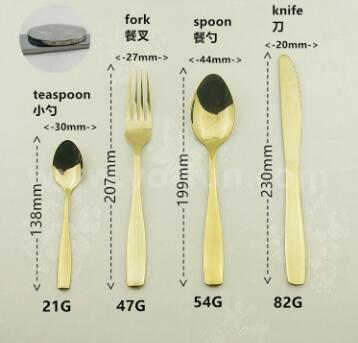 Stocked golden stainless steel cutlery