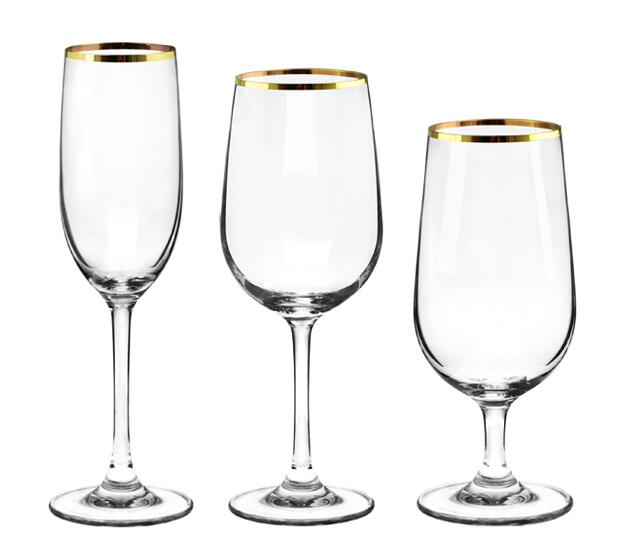 Custom gold rimmed crystal goblet red wine glass