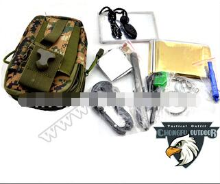 Outdoor Emergency Survival Kit Camo Backpack tactical SOS survival first aid kit outdoor survival equipment wholesale mess kit