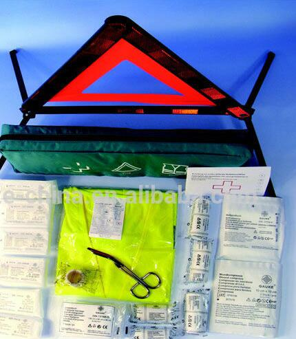 Roadside Emergency DIN13164-2014 First Aid Kit with triangle warning and warning vest in Kombi Set 3 in 1