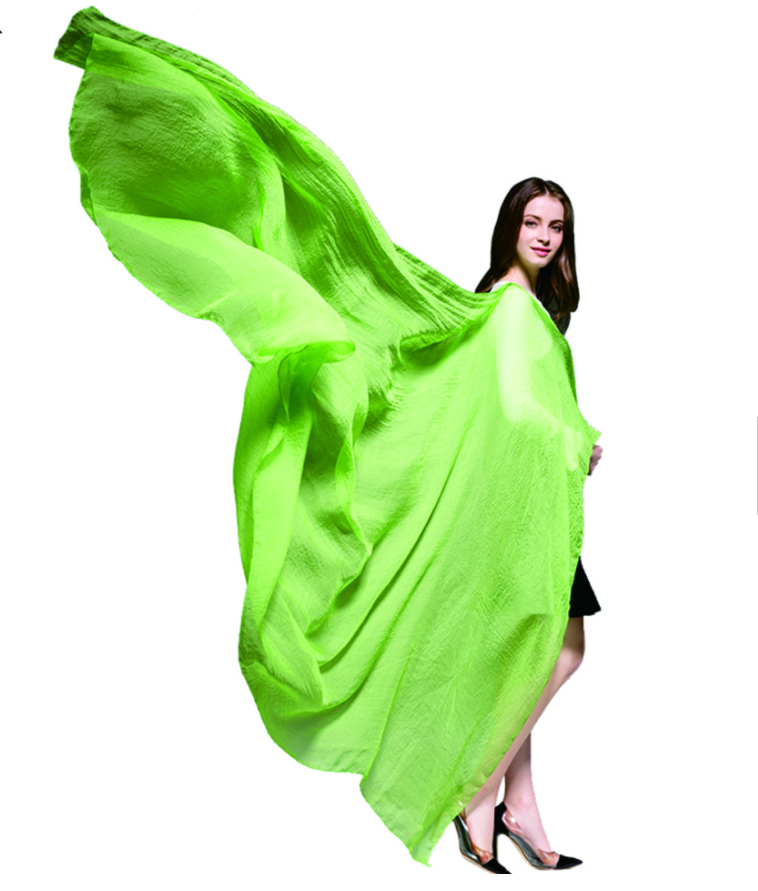 Mustard green plain color chiffon silk scarf for sale