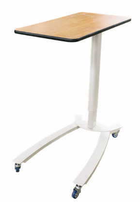 BT-AT003 Wooden top cheap hospital bed tray gas spring height adjustable over bed table with wheels prices