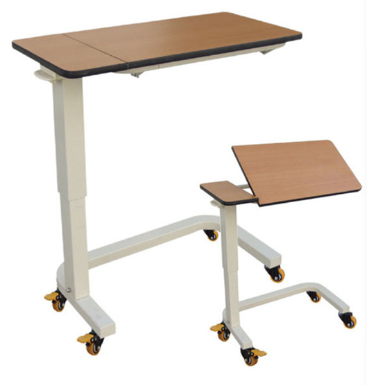 BT-AT007 Wooden tilt top board gas spring height adjustable mobile hospital over bed table with wheels