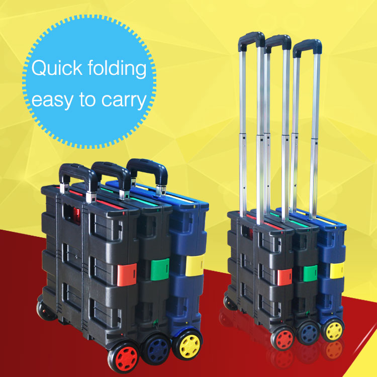 Wholesale Custom New Style Pack N Roll Folding Trolley Foldable Shopping Cart for sale