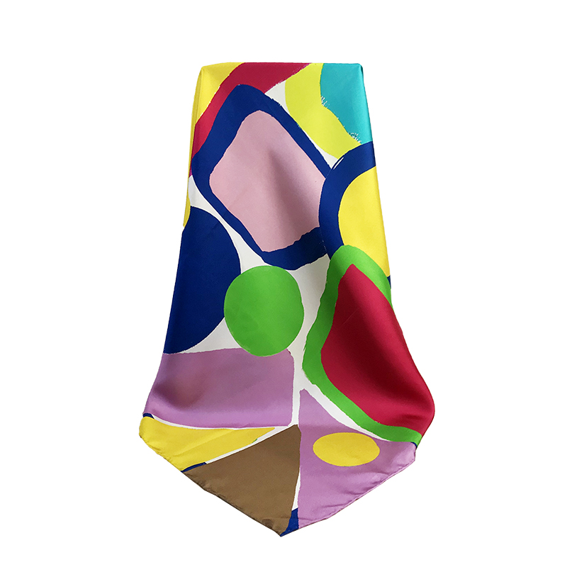 Colorful Hand Hem Custom Silk Twill Large Square 90x90cm Scarf for Women for sale