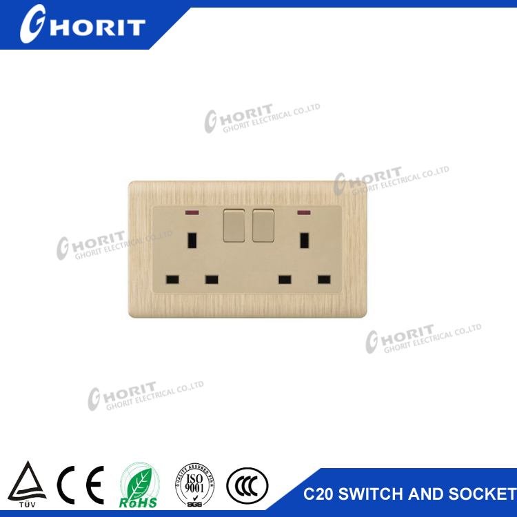 Double 13A wall socket switch Wenzhou manufacture