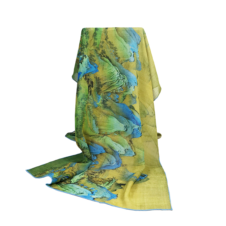 Landscape Painting Design Silk Scarves for Museum for sale