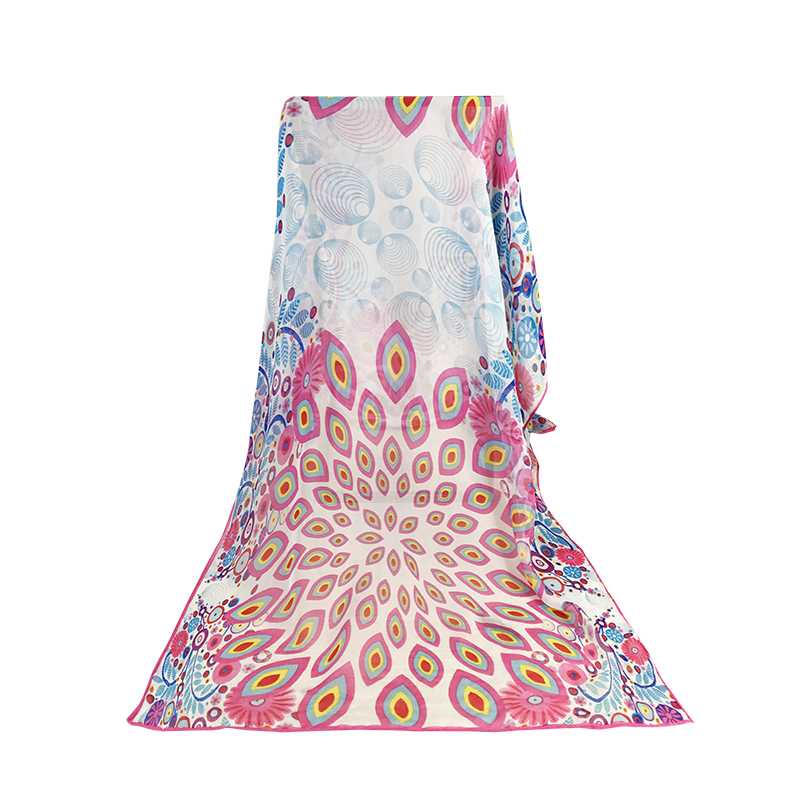 Wholesale Cheap Poly Chiffon Scarf for Women with Beautiful Flower Print for sale