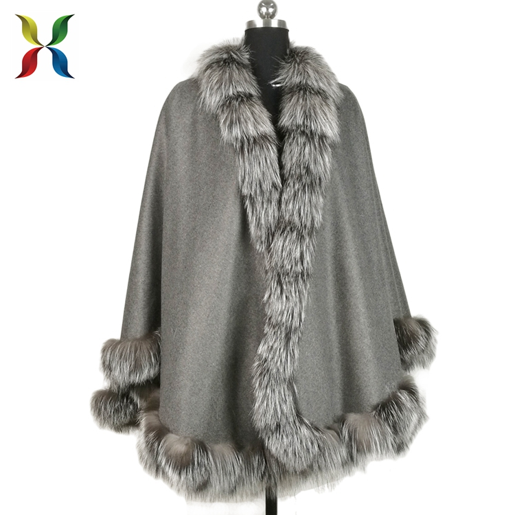 Customized color grey cashmere poncho with genuine fox fur trim for sale