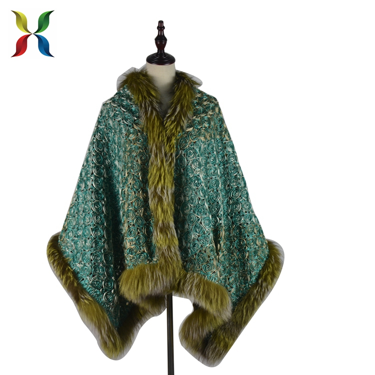 New style real fox fur trim plus size knitted fur poncho for sale