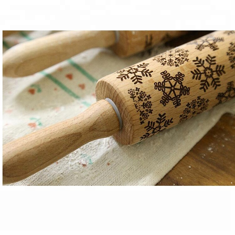 Item FI2-025 Wooden Rolling Pin with Laser Engraving Design, Solid Beech Roller with Embossing Pattern sale
