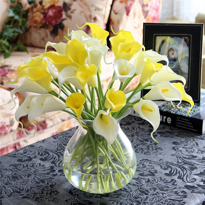 15pcs/lot Artificial Calla lily PVC Real Touch Bride Bouquet Flower Home Wedding Decor Flowers & Wreaths Mix Color sale