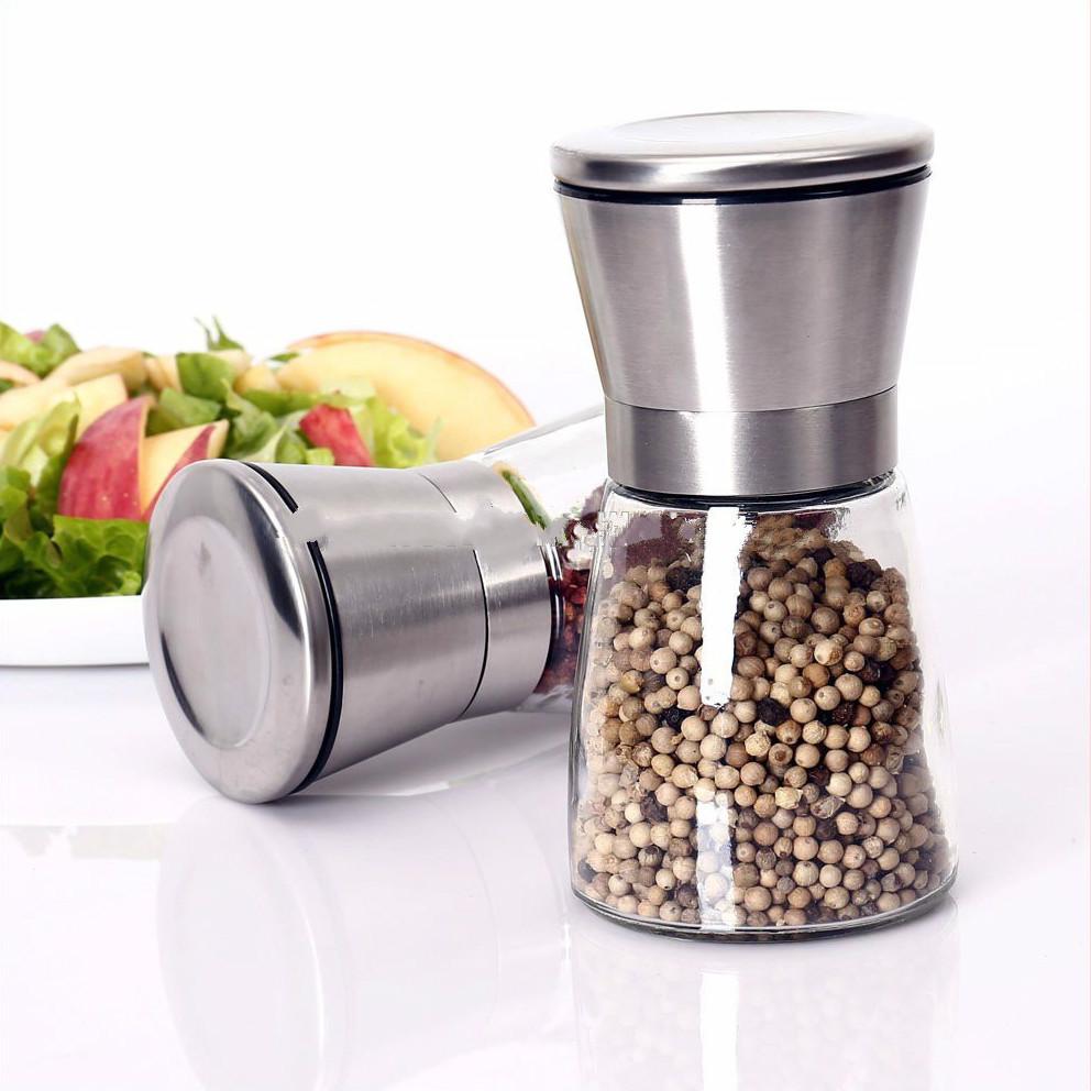 Glass salt and pepper grinder sets bottle with stand, salt pepper jar manufacturer for sale