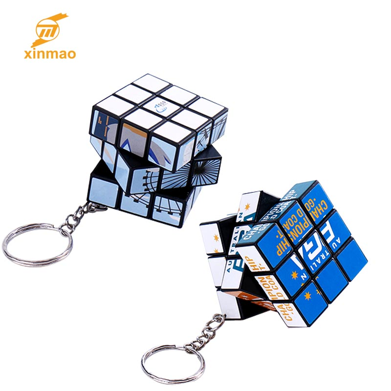 Mini custom magic puzzle cube for kids gift with Keyring promotional educational toy