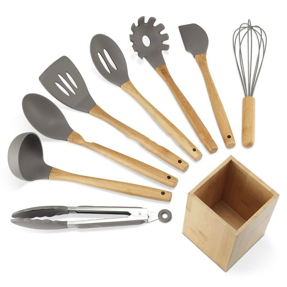 Bamboo Wood Handle Nonstick nylon Silicone Kitchen Utensils 8-Piece sale