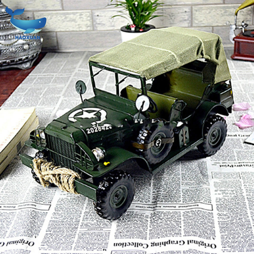 Mettle Metal Iron Handmade Antique Green Jeep Models For Sports Shop Decoration Home Decor Gift Item for sale