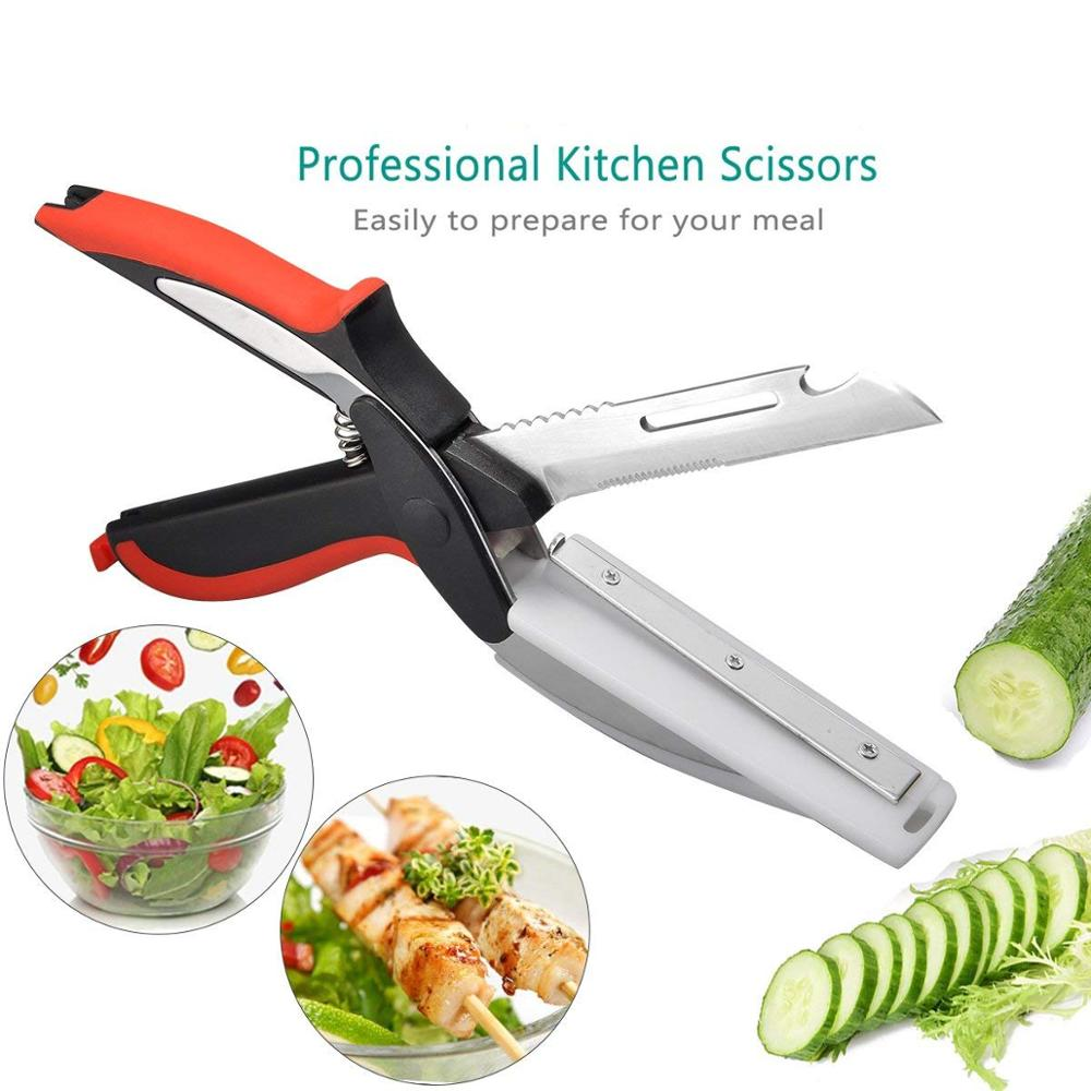Universal Stainless Steel Kitchen Scissors 6 in 1 Clever Food Vegetable Chopper Slicer Cutter With Cutting Board sale