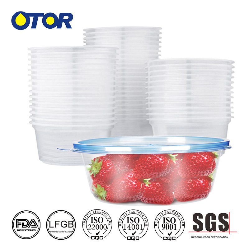 Disposable Food Container Take Away Plastic Salad Bowl with Layered Inner and Lid