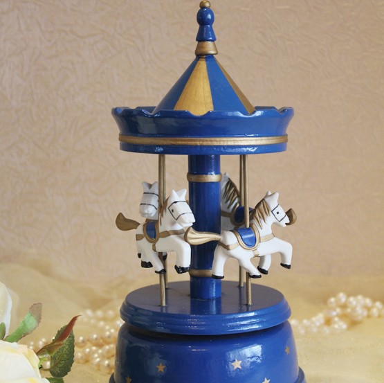 Blue wood music box Eight sound box ornaments wooden craft for sale