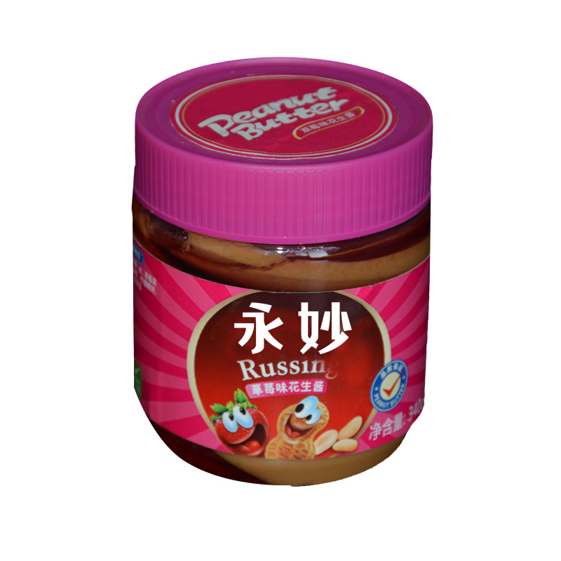 340g chinese wholesale strawberry flavor canned peanut butter for sale