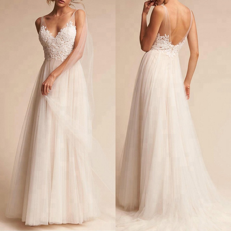 Simple Design Lace Berta Sexy V Back Soft Chiffon Wedding Dress sale