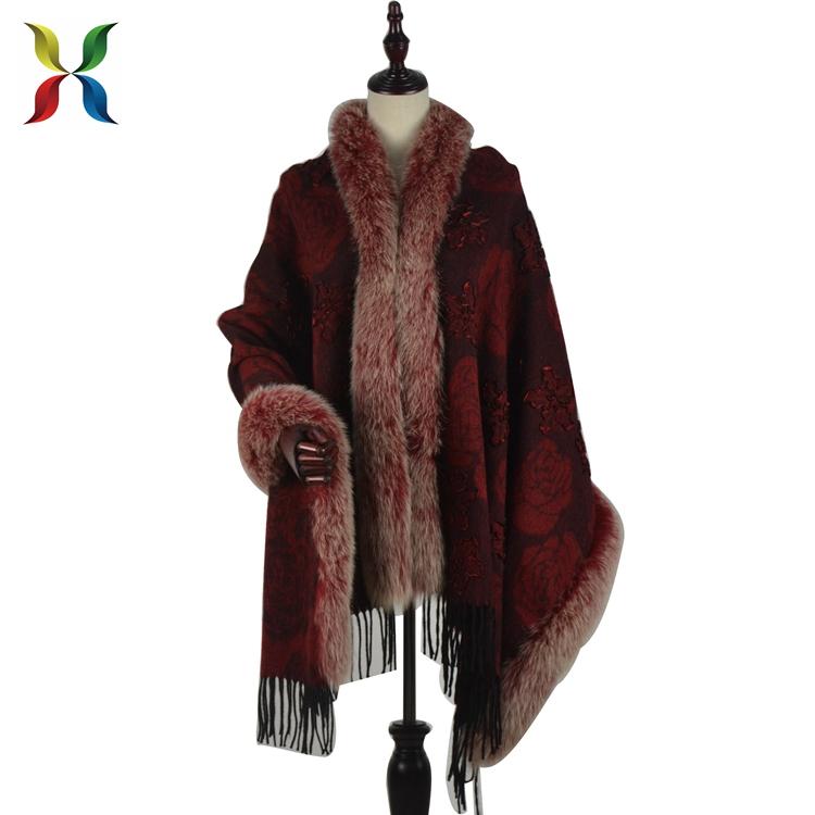 Ladies Cashmere Cape Women Fur Trim Pashmina Shawl for sale