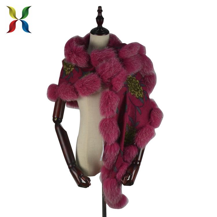 New grace new production cashmere fox fur trim 100% wool shawl