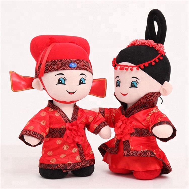 stuffed wedding doll wearing traditional Chinese garments plush toy for sale