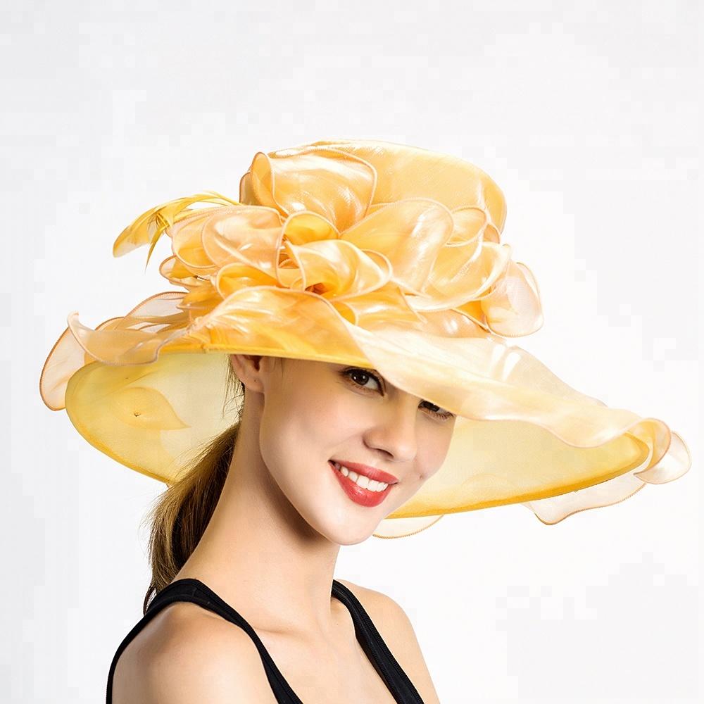 Wide Brim Organza Women Fancy Dress Hats for Wedding Party