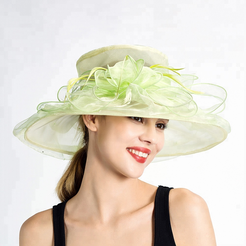 Fashion Womens Wide Brim Organza Church Hats for Wedding Party for sale