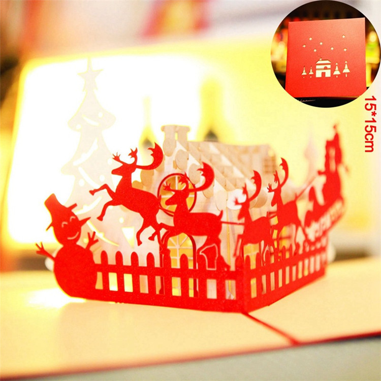 Christmas 3D Cards Pop Up Greeting Holiday Cards Gifts for Xmas/New Year Gift Greeting Cards J-R018 sale