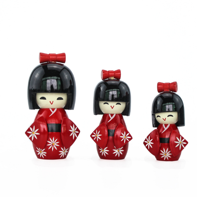 Hot sale three set wooden japanese puppet  for home decoration sale