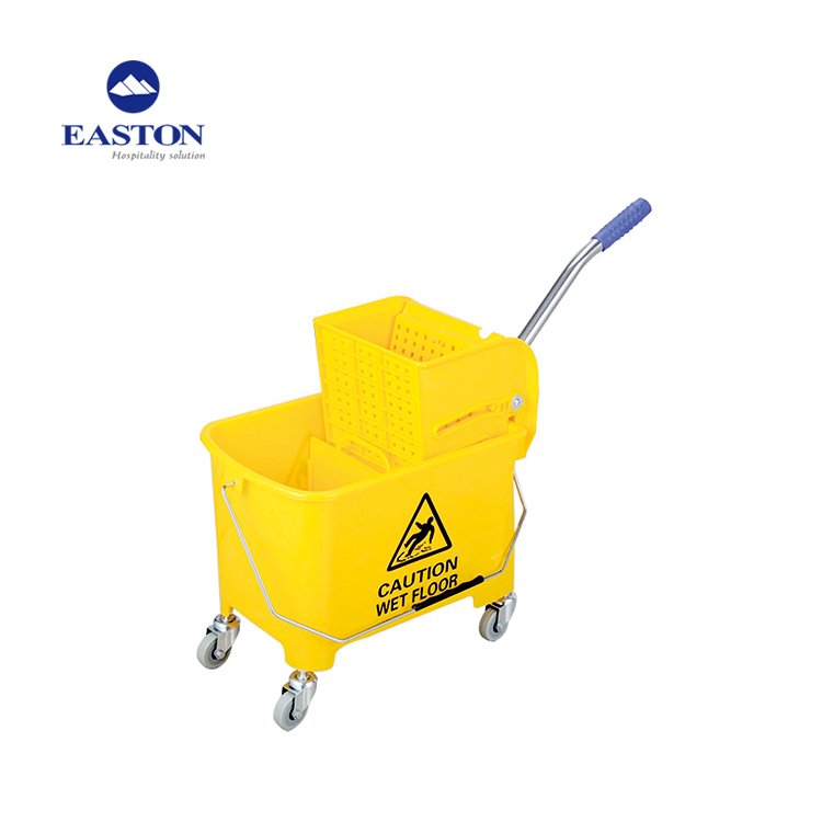 Strong plastic material PP cleaning cart,hotel semi-automatic housekeeping cleaning cart trolley sale