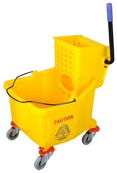 36L yellow plastic hotel single basket wringer trolley cleaning cart sale