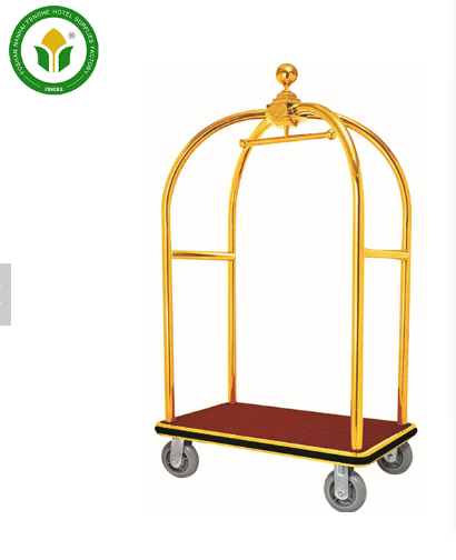 Stainless steel metal hotel luggage trolley for sale