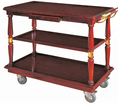 High quality wooden hotel serving cart with handle for sale