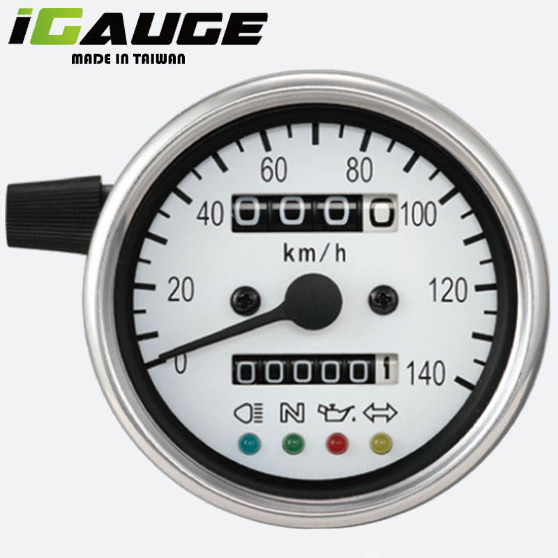 60mm White Face LED Motorbike Speedometer Gauge for sale